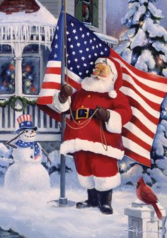 Custom Decor Flag - American Santa Decorative Flag at Garden House Flags at GardenHouseFlags