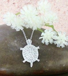 Sparkling Turtle Necklace in Sterling Silver & Cubic Zirconia-Animals & Nature > Turtle Necklaces-woot & hammy