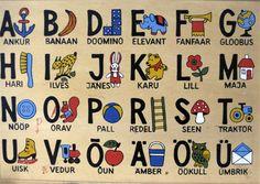 Eesti keele tähestik aabitsas - Estonian alphabets in abc book.