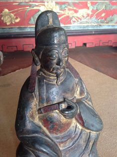 Great Gilt Ming Dynasty Bronze Of A Priest Handsome early bronze of a priest showing lots of original gilding and polychrome . Please see my other bronze listed inches tall by 6 inches wide Priest, Buddhism, Handsome, Skull, Bronze, Statue, Antiques, Vintage, Antiquities