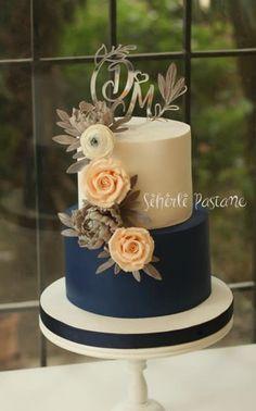 Ideas Simple Rustic Wedding Cake Navy For 2019 Navy Blue Wedding Cakes, Floral Wedding Cakes, Wedding Cake Rustic, Wedding Cake Designs, Wedding Cake Toppers, Cake Wedding, Gold Wedding, Diy Wedding, Wedding Ideas