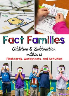 Practicing Fact Families Addition and Subtraction within 18 | Fun turn around dance and other activities to help first graders to practice fact family facts and make the connection between adding and subtracting.