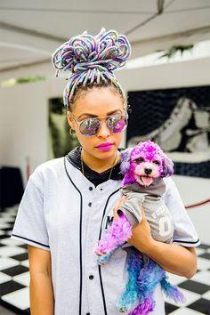 Óculos espelhado e o cãozinho no estilo!