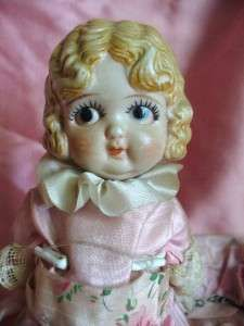 Bisque KEWPIE Carnival Doll - Darling Face Dressed w Hat Vintage 1930