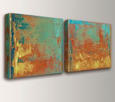 "Canvas Paintings - Mint Green - Teal - Orange - Yellow - Art - Canvas Prints - Expressionist Wall Art - Modern Art - Wall Art Set - "" Cabo """