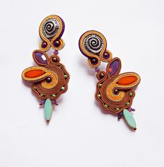 Clip on soutache dangle earrings from soutache by panka by DaWanda.com