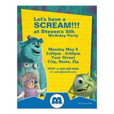 Monsters, Inc. personalized Birthday party Invitations!