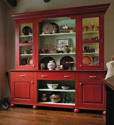 European Red Country Hutch home red country decorate hutch shelves display cabinet Country Hutch, Country Decor, Farmhouse Decor, Country Style, Red Painted Furniture, Painted Hutch, Wood Mode, Kitchen Hutch, Red Kitchen Walls