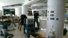 A lot of work goes into setting up our stand at a #conference. Here is our contractor building our stand in #Cannes #France for #MIPIM2015 #architects #architecture #travel #architect #retail