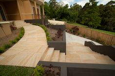 Cinajus Sandstone range available in sandstone pavers, sandstone tiles, sandstone pool coping and wall cladding. Front House Landscaping, Landscaping Ideas, Garden Landscaping, Sandstone Pavers, Sandstone Wall, Pool Paving, Amazing Bedrooms, Garden Design, House Design
