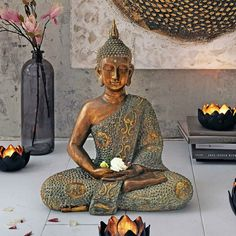 Sitting Buddha Figurine Yoga Sculpture Statue Indian Meditation Religious Brown for sale online Buddha Statue Home, Buddha Home Decor, Smiling Buddha, Indian Meditation, Asian Sculptures, Asian Interior Design, Zen Garden Design, Asian Decor, Balinese Garden