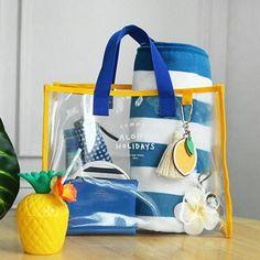 Transparent travel swimming beach storage bag pouch home organizer(yellow) Travel Handbags, Travel Bags, Best Beach Bag, Transparent Bag, Beach Tote Bags, Handbags Online, Bag Storage, Bag Making, Pouch