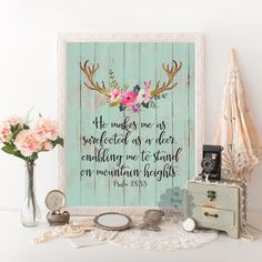 Psalm 18:33 Bible verse Psalms quote printable by DaisyandDecor