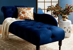 blue velvet chaise longue