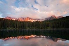 Lago di Carezza at sunset - Lago di Carezza at sunset, Dolomites Alps, Italy