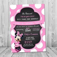 Minnie Mouse Invitation, Minnie Birthday Invitation, Printable Chalkboard Minnie Mouse Party Invite, Girl Birthday Invites by PartyPrintouts on Etsy First Birthday Parties, Birthday Party Themes, Girl Birthday, First Birthdays, Birthday Ideas, Girls Party Invitations, Print Your Own Invitations, Invites, Minnie Mouse Baby Shower
