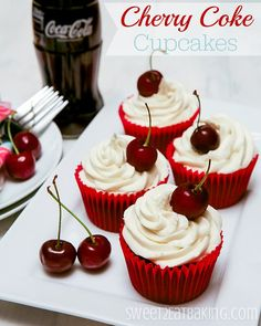 Cherry Coca-Cola (Coke) Cupcakes by Sweet2EatBaking.com | Cherry Coca-Cola in both the cupcake batter AND in the frosting too!