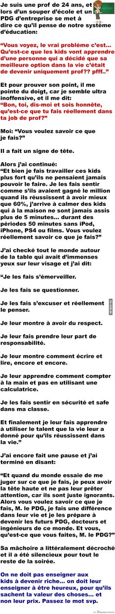 À tous les profs de ce monde… MERCI – Québec Meme + Fact Quotes, Funny Quotes, Life Quotes, Quote Citation, Faith In Humanity Restored, My Diary, French Quotes, Positive And Negative, Wisdom