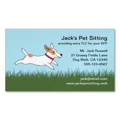 47 great catchy pet sitting business names pinterest pet sitting jack russell cartoon dog running on grass business card magnet colourmoves