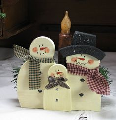 Wooden Snowman Family with Shelf Candle and by TheCountryTouch, $16.50