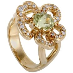 Hermès Peridot Diamond Yellow Gold Ring | From a unique collection of vintage cocktail-rings at https://www.1stdibs.com/jewelry/rings/cocktail-rings/