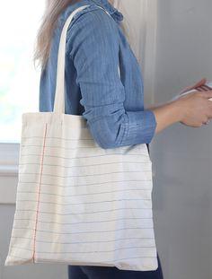 DIY: notebook sewn canvas tote bag