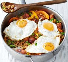 Whip up a nutritious family dinner in just 20 minutes with this easy rice and sausage dish with peppers and peas - top with fried eggs