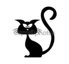 Хэллоуин черная кошка силуэт вектор. Мультфильм клипарт, которую иллюстрации изолирован на белом фоне — стоковая иллюстрация #87712712