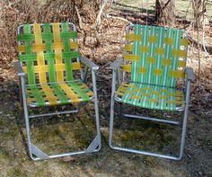 Two (2) Vintage Aluminum Webbed Folding Lawn Chairs -  Retro Patio - Camp Set