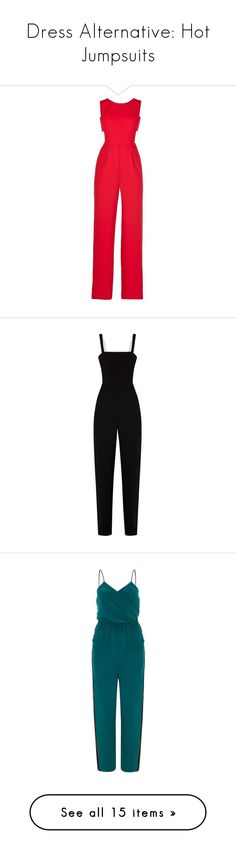 """Dress Alternative: Hot Jumpsuits"" by polyvore-editorial ❤ liked on Polyvore featuring jumpsuits, rompers, dresses, playsuit, pants, jump suit, open back romper, red romper jumpsuit, wide leg romper and wide leg jumpsuit"