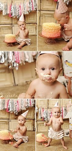 First Birthday Photo Shoot - Ruffled Themed. {Peekaboo Photography} Links to blog but not to the photo shoot.