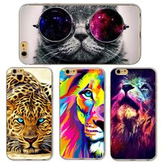 Cute Cat with Glasses Tiger Skull Pattern Case Cover For iphone 5 5s SE 6 6S Transparent Soft Silicone Cell Phone Cases * You can find more details by visiting the image link.