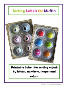 Muffin Tin Learning - letters - put pictures/small objects in that start with the sound.  Numbers - Count out that many  beans, beads, etc...