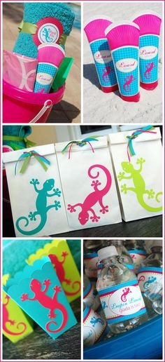 Love the lizard party idea! I would switch out the pink and replace it with orange for the boys.