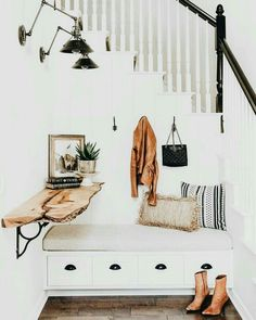 Raw wood desk in the #entryway ~ETS