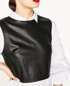 Image 6 of FAUX LEATHER TOP WITH BACK BOW from Zara