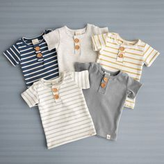 Sep 2019 - Sailor Stripe Short Sleeve Button Shirt Gender neutral tops for boys or girls! These Short Sleeve Button Tops are a great spring/summer shopping choice! Boys Summer Outfits, Little Boy Outfits, Little Boy Fashion, Toddler Boy Outfits, Baby Boy Fashion, Baby Outfits Newborn, Toddler Fashion, Kids Outfits, Kids Fashion
