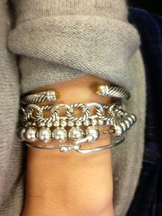 Vintage silver looking Bracelets.  Thanks David Yurman.  I will have one one day!