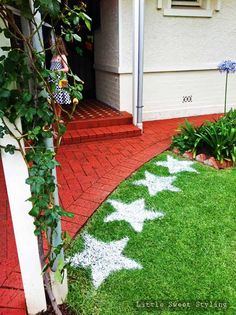 Very cute Rock Star party -- but check out these flour stars - thinking of the possibilities for lawn decoration for any event - letters, shapes - clever!