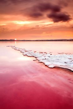 Sunset at the Salt River in Torrevieja, Valencia, Spain.