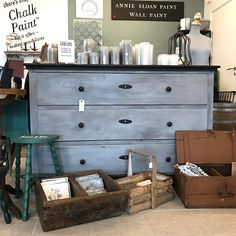 Old with with and top painted in Annie Sloan Chalk Paint Paris Grey, Dresser, Top, Painting, Furniture, Instagram, Home Decor, Powder Room, Decoration Home
