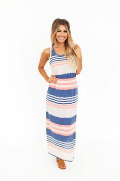 422149d3cf9 Coral Navy Oatmeal Striped Maxi - Dottie Couture Boutique