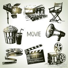 8 hand-painted vintage movie element vector