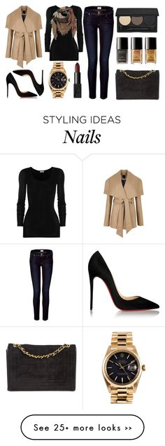 """""""black & nude."""" by pinkamby on Polyvore featuring Ted Baker, American Vintage, Hudson Jeans, Smashbox, Chanel, Christian Louboutin, NARS Cosmetics, Burberry and Rolex"""