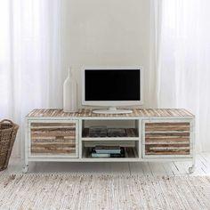 59.99 € ❤ KIKUA #Meuble #TV 130 cm blanc brillant - 1 porte ...