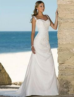 A-line Sweetheart Chapel Train Sleeveless Taffeta Beach Wedding Dress For Brides