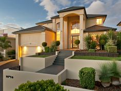 Photo of a house exterior design from a real Australian home - House Facade photo Browse hundreds of facade designs from Australian homes on Home Ideas. Villa Plan, Design Exterior, Modern Exterior, Stucco Exterior, Exterior Doors, Architecture Design, Chinese Architecture, Futuristic Architecture, Australian Homes