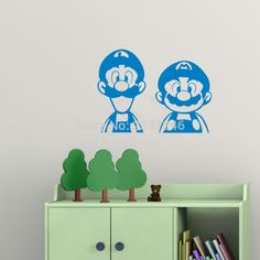 Comical Cartoon Characters Wall Decal Super Mario Bros Decorative Vinyl Stickers for Kids Room Nursery