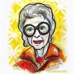 New watercolor illustration of Iris Apfel #fashionicon { @alysonplante }