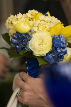 Yellow and Blue Bridesmaid Bouquet